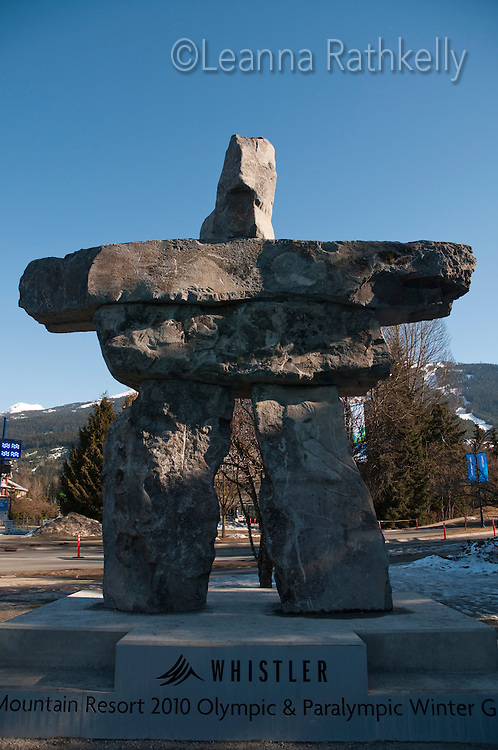 A large lnukshuk welcomes visitors to Whistler Village, Host Mountain Resort of the 2010 Olympic Winter Games.