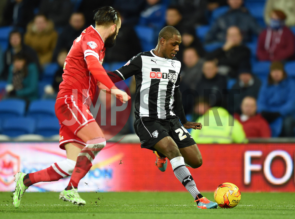 Watford's Odion Ighalo closes in on the Cardiff goal - Photo mandatory by-line: Paul Knight/JMP - Mobile: 07966 386802 - 28/12/2014 - SPORT - Football - Cardiff - Cardiff City Stadium - Cardiff City v Watford - Sky Bet Championship