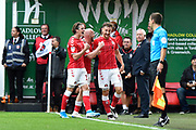 Goal - Tom Lockyer (5) of Charlton Athletic celebrates the goal scored by Macauley Bonne (17) of Charlton Athletic to give a 1-0 lead to the home team during the EFL Sky Bet Championship match between Charlton Athletic and Leeds United at The Valley, London, England on 28 September 2019.