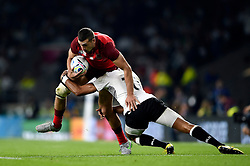 Jonny May of England is tackled by Ben Volavola of Fiji - Mandatory byline: Patrick Khachfe/JMP - 07966 386802 - 18/09/2015 - RUGBY UNION - Twickenham Stadium - London, England - England v Fiji - Rugby World Cup 2015 Pool A.