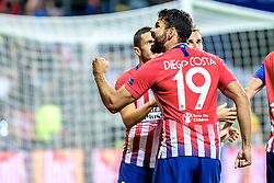 August 15, 2018 - Tallinn, Estonia - Diego Costa of Atletico Madrid celebrating a goal at UEFA Super Cup 2018 in Tallinn..The UEFA Super Cup 2018 was played between Real Madrid and Atletico Madrid. Atletico Madrid won the match 4-2 during extra time after and took the trophy after drawing at 2-2 during the first 90 minute of game play. (Credit Image: © Hendrik Osula/SOPA Images via ZUMA Wire)