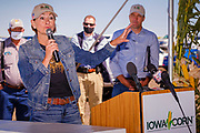 03 SEPTEMBER 2020 - RADCLIFFE, IOWA: Iowa Governor KIM REYNOLDS speaks at an event for Iowa farmers. She accompanied Sonny Perdue, the US Secretary of Agriculture, who made a secretarial disaster declaration for 42 counties in central Iowa during a farm visit in central Iowa Thursday. The secretarial disaster declaration frees up more federal funds, from the Department of Agriculture, to help in recovery from the derecho storm that wiped out about one-third of Iowa's corn crop on Monday, August 10, 2020. Many Iowa farmers are still rebuilding lost buildings or plowing under lost crops.       PHOTO BY JACK KURTZ