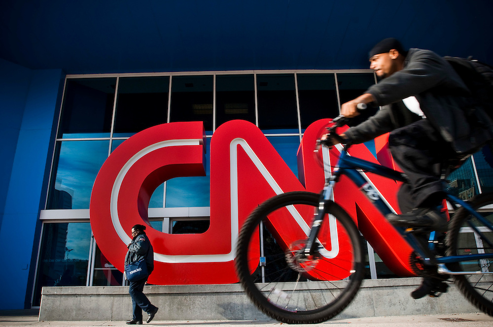 CNN Headquarters in Atlanta..People passing outisde the entrance to the CNN building in downtown Atlanta
