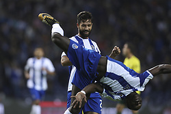 October 21, 2017 - Porto, Porto, Portugal - Porto's Brazilian defender Felipe (R) celebrates after scoring goal with teammate Porto's Cameroonian forward Vincent Aboubakar (L) during the Premier League 2017/18 match between FC Porto and FC Pacos de Ferreira, at Dragao Stadium in Porto on October 21, 2017. (Credit Image: © Dpi/NurPhoto via ZUMA Press)