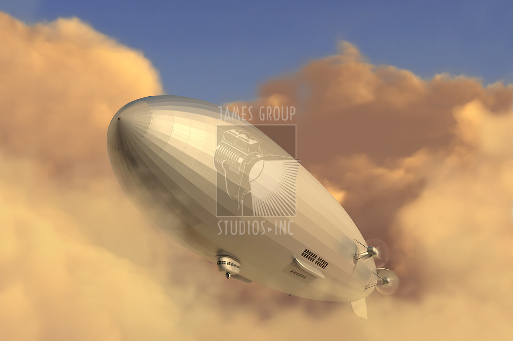 Retro zeppelin modeled after the Hindenburg emerging from a cloud bank in the late afternoon
