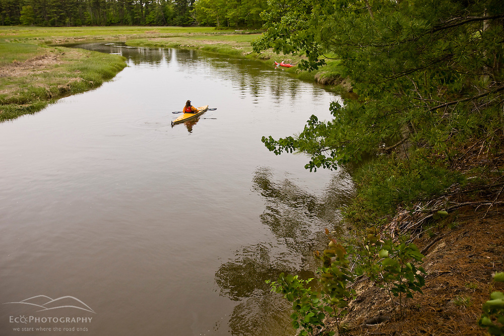 A woman kayaks the upper reaches of the York River in York, Maine.  High tide.