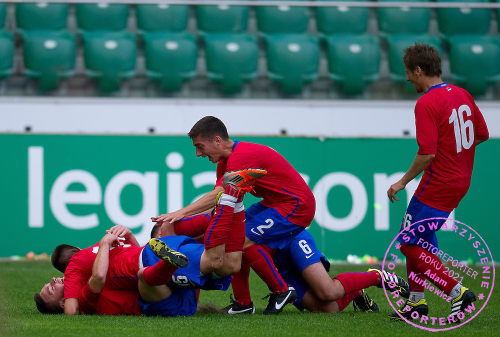 SO Serbia (red) celebrate their goal at final during the 2013 Special Olympics European Unified Football Tournament in Warsaw, Poland.<br /> <br /> Poland, Warsaw, June 08, 2012<br /> <br /> Picture also available in RAW (NEF) or TIFF format on special request.<br /> <br /> For editorial use only. Any commercial or promotional use requires permission.<br /> <br /> <br /> Mandatory credit:<br /> Photo by © Adam Nurkiewicz / Mediasport