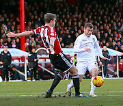 Matt Ritchie dive to try and win penalty during the Sky Bet Championship match between Brentford and Bournemouth at Griffin Park, London, England on 21 February 2015. Photo by Matthew Redman.