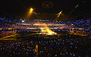 Beyonce performs during Super Bowl XLVII halftime at the Mercedes-Benz Superdome in New Orleans on February 3, 2013 in New Orleans.  UPI/David Tulis