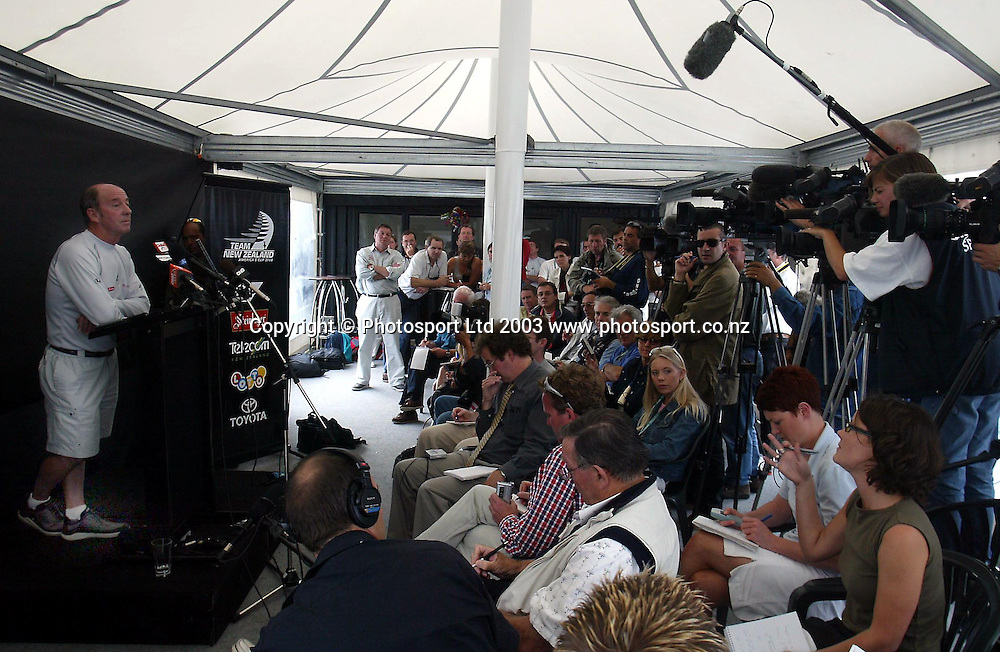 January, 2003. America's Cup Village. Team New Zealand Press Conference.<br />