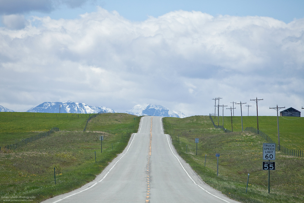 US Route 89 at the Canadian border on the Blackfeet Indian Reservation in Montana