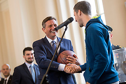 "President of Slovenia, Borut Pahor during award ceremony ""Zlati red za zasluge"" for Basketball association of Slovenia on the day of statehood in the presidential palace, on June 25, 2018 in Ljubljana, Slovenia. Photo by Urban Urbanc / Sportida"