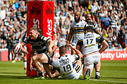 Hull FC prop Scott Taylor (8) goes over and scores a try  and celebrates during the Challenge Cup 2017 semi final match between Hull RFC and Leeds Rhinos at the Keepmoat Stadium, Doncaster, England on 29 July 2017. Photo by Simon Davies.