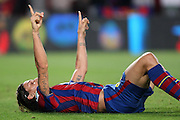 FC Barcelona's Zlatan Ibrahimovic celebrates goal during La Liga match.August 31 2009.