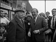 15/05/1982<br /> 05/15/1982<br /> 15 May 1982<br /> An Taoiseach, Mr Charles Haughey, canvasing with Fianna Fail bye-election candidate Eileen Lemass in Dublin West. Image shows An Taoiseach (right centre) canvasing on Ballyfermot Road.  Eileen Lemass is in the centre of the image.
