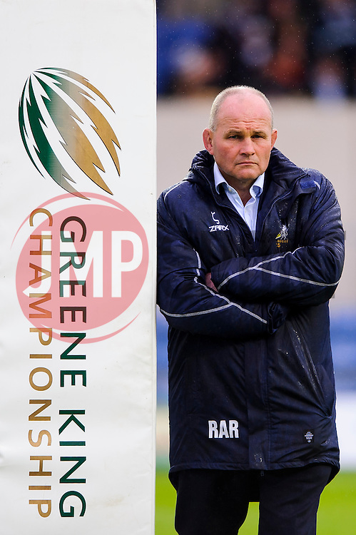 Bristol Director of Rugby Andy Robinson looks on before the match leaning aainst a Championship post pad - Photo mandatory by-line: Rogan Thomson/JMP - 07966 386802 - 28/05/2014 - SPORT - RUGBY UNION - Kassam Stadium, Oxford - London Welsh v Bristol Rugby - Greene King IPA Championship Play Off Final First Leg.
