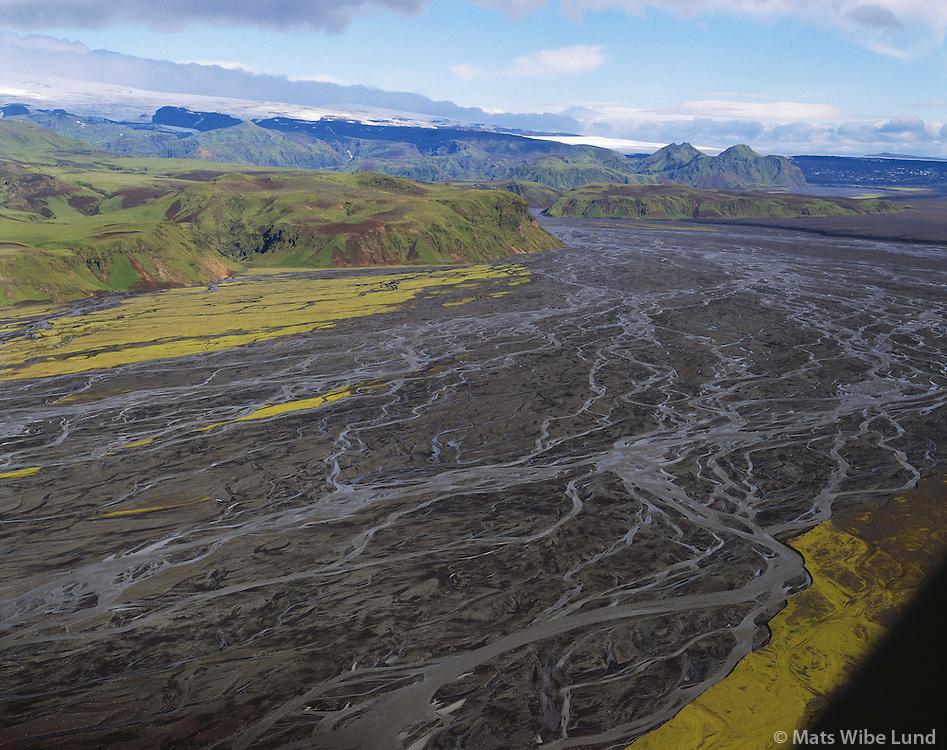 Múlakvisl, Mýrdalsjökull í baksýni, Mýrdalshreppur áður Hvammshreppur, loftmynd. /.Mulakvisl river, Myrdalsjokull glacier in background. Aerial