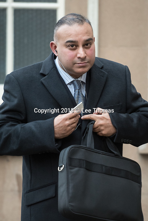 Worcester Crown Court, The Shirehall, Foregate Street, Worcester, Worcestershire, UK. 22nd January 2018. Sudip Sarker, 47, leaves Worcester Crown Court after attending the first day of his trial accused of C.V. fraud. The surgeon operated on Worcestershire Acute Hospitals NHS Trust patients between May and September 2015 and is accused of fraud after claiming he had carried out 51 keyhole surgeries, but prosecutors have said that figure is entirely bogus. Sarker denies fraud and the trial is expected to take four weeks. // Lee Thomas, Tel. 07784142973. Email: leepthomas@gmail.com  www.leept.co.uk (0000635435)