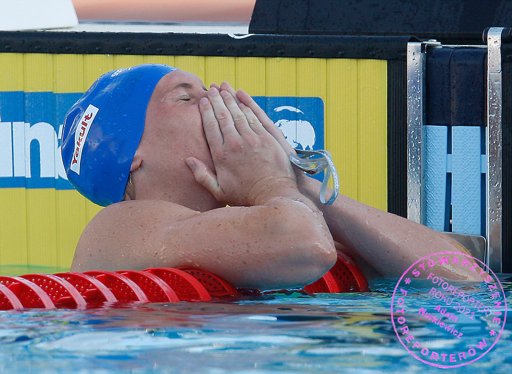ROME 28/07/2009.13th Fina World Championships.Gemma Spofforth of Britain reacts after winning and setting a world record in the women's 100m backstroke swimming final at the World Championships in Rome.photo: Piotr Hawalej / WROFOTO