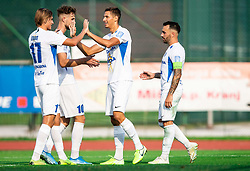 Lan Štravs of Celje, Jakob Novak of Celje, Gašper Koritnik of Celje and Mitja Lotrič of Celje celebrate after scoring during football match between NK Triglav and NK Celje in 7th Round of Prva liga Telekom Slovenije 2019/20, on August 25, 2019 in Sports park, Kranj, Slovenia. Photo by Vid Ponikvar / Sportida
