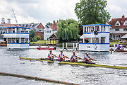 Henley on Thames, England, United Kingdom, 7th July 2019, Henley Royal Regatta, Finals Day, The Queen Mother Challenge Cup, Leander Club with an easy verdict over<br /> Frankfurter Rudergesellschaft Germania 1869 e.V., Germany Henley Reach, [© Peter SPURRIER/Intersport Image]<br /><br />15:57:26 1919 - 2019, Royal Henley Peace Regatta Centenary,