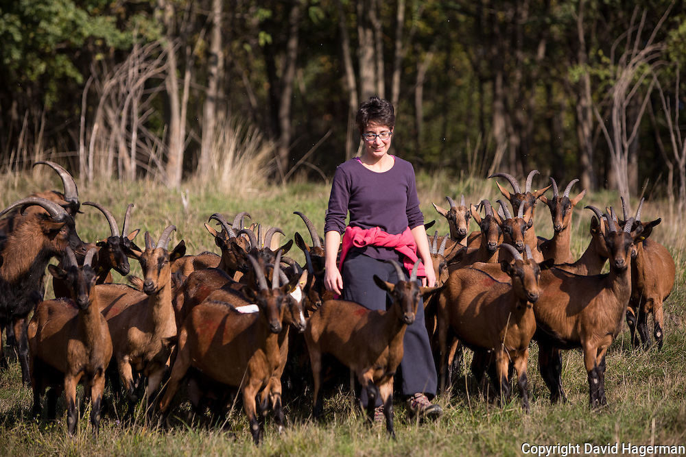 Benedetta Rebora, owner of Cascina Isadora with her goats on of the pastures where they are free ranged.