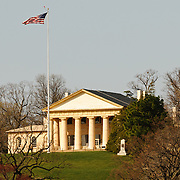 Arlington House, also known as the Robert E. Lee Memorial on top of the hill of Arlington National Cemetery. The shot is taken from Memorial Bridge looking west.
