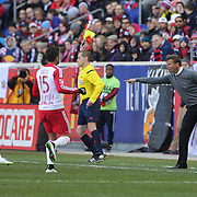 Jesse Marsch, New York Red Bulls head coach, gives instruction to Salvatore Zizzo from the sideline during the New York Red Bulls Vs D.C. United, Major League Soccer regular season opening match at Red Bull Arena, Harrison, New Jersey. USA. 22nd March 2015. Photo Tim Clayton