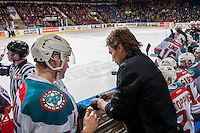 KELOWNA, CANADA - MARCH 1: Kelowna Rockets' athletic therapist, Scott Hoyer, treats Tomas Soustal #15 of the Kelowna Rockets on the bench after a first period injury against the Prince George Cougars on MARCH 1, 2017 at Prospera Place in Kelowna, British Columbia, Canada.  (Photo by Marissa Baecker/Shoot the Breeze)  *** Local Caption ***