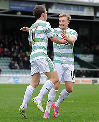 Yeovil Town's James Hayter celebrates his sides goal with Yeovil Town's Ajay Leitch-Smith - Photo mandatory by-line: Harry Trump/JMP - Mobile: 07966 386802 - 03/04/15 - SPORT - FOOTBALL - Sky Bet League One - Yeovil Town v Chesterfield - Huish Park, Yeovil, England.