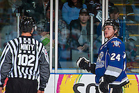 KELOWNA, CANADA - DECEMBER 30: Regan Nagy #24 of the Victoria Royals comments on a penalty on his way to the box against the Kelowna Rockets on December 30, 2016 at Prospera Place in Kelowna, British Columbia, Canada.  (Photo by Marissa Baecker/Shoot the Breeze)  *** Local Caption ***