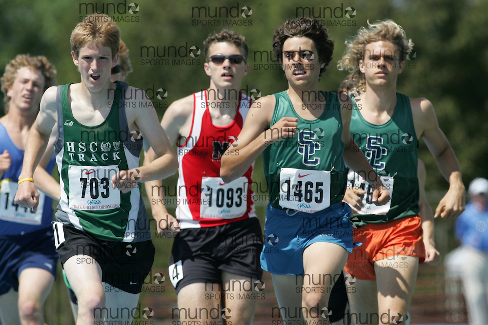 Brian Timmis, Mike Lever, and Justin Burke competing in the 800m heats at the 2007 OFSAA Ontario High School Track and Field Championships in Ottawa.