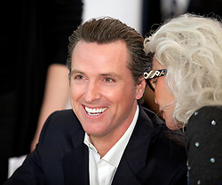 California LT. Governor Gavin Newsom laughs with Lois Aldrin during the opening ceremonies of new Terminal 2, at San Francisco International Airport.  The 640,000- square-foot Terminal is expected to be the first LEED Gold-certified terminal in the U.S.
