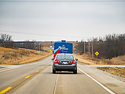 03 JANUARY 2020 - MONTEZUMA, IOWA: John Delaney's campaign bus drives down US Highway 69 towards Montezuma, IA, for a Delaney campaign event. John Delaney, a former Democratic Congressman from Maryland, was the first Democrat to declare his candidacy for President in 2020, He has held more than 400 campaign events in Iowa since declaring his candidacy. Iowa traditionally holds the first selection event of the presidential election cycle. The Iowa Caucuses are Feb. 3.   PHOTO BY JACK KURTZ