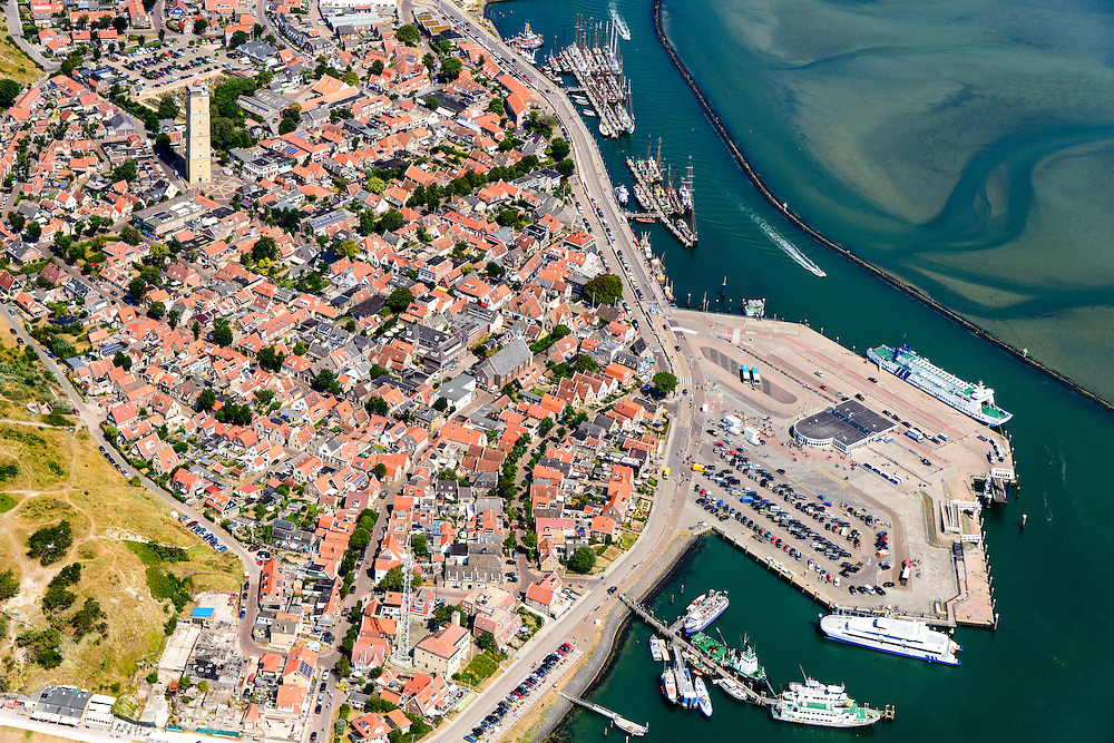 Nederland, Friesland, Terschelling, 05-08-2014;  West-Terschelling, met vuurtoren de Brandaris. Wadden island Terschelling.<br /> luchtfoto (toeslag op standard tarieven);<br /> aerial photo (additional fee required);<br /> copyright foto/photo Siebe Swart