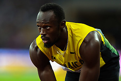 London, 2017-August-04. Usaij Bolt prepares for his heat in the men's 100m at the IAAF World Championships London 2017. Paul Davey.