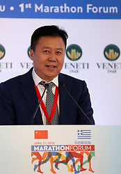 MARATHON(GREECE), April 28, 2018  Vice Secretary of Chinese Athletic Association Shui Tao speaks during the first Marathon Forum in Marathon, Greece, on April 27, 2018. The first Marathon Forum aiming to further promote the ''Marathon culture'' worldwide was held on Friday at the Municipality of Marathon where 2,500 years ago the Marathon race was born. (Credit Image: © Marios Lolos/Xinhua via ZUMA Wire)