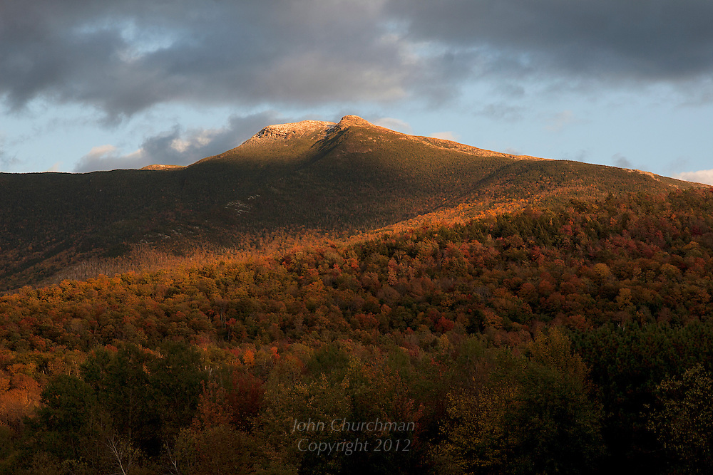 Mt. Mansfield at sunset in the fall from Pleasant Valley Road in Underhill