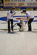 "Glasgow. SCOTLAND. Scotland's Vice ""Skip""  relasing the ""Stone"" as it passes over the ""Hog Line"" during the Le Gruyère European Curling Championships. 2016 Venue, Braehead  Scotland<br /> Sunday  20/11/2016<br /> <br /> [Mandatory Credit; Peter Spurrier/Intersport-images]"