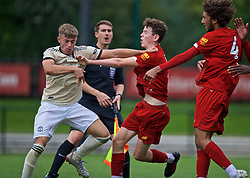 KIRKBY, ENGLAND - Saturday, August 31, 2019: Manchester United's Reece Devine clashes with Liverpool's Tom Hill after the Under-18 FA Premier League match between Liverpool FC and Manchester United at the Liverpool Academy. Liverpool won 4-3. (Pic by David Rawcliffe/Propaganda)