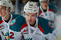 KELOWNA, CANADA - FEBRUARY 24:  Erik Gardiner #12 of the Kelowna Rockets warms up against the Kamloops Blazers on February 24, 2018 at Prospera Place in Kelowna, British Columbia, Canada.  (Photo by Marissa Baecker/Shoot the Breeze)  *** Local Caption ***