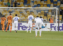 September 14, 2017 - Kiev, Ukraine - Dynamo's Congolese forward Dieumerci Mbokani scores a penalty kick during the UEFA Europa League Group B football match between FC Dynamo Kiev and KF Skenderbeu at the Olimpiyskyi Stadium in Kiev on September 14, 2017. (Credit Image: © Sergii Kharchenko/NurPhoto via ZUMA Press)