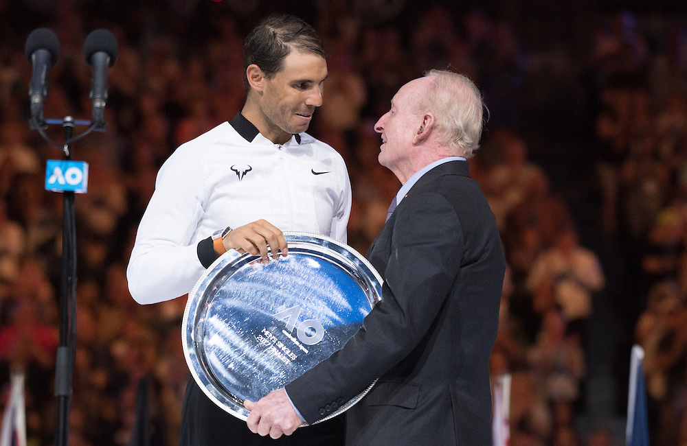 Rafael Nadal of Spain and Rod Laver after of the men's final on day fourteen of the 2017 Australian Open at Melbourne Park on January 29, 2017 in Melbourne, Australia.<br /> (Ben Solomon/Tennis Australia)