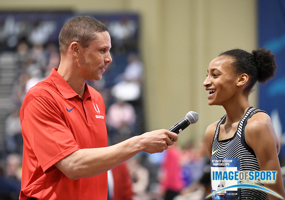 Mar 4, 2017; Albuquerque, NM, USA: Samantha Watson aka Sammy Watson (left) is interviewed by Dan O'Brien after winning women's 1,000m heat in a national high school record 2:43.18 during the USA Indoor Championships at Albuquerque Convention Center.