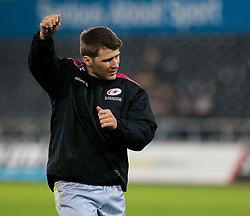 Saracens' Richard Wigglesworth during the pre match warm up<br /> <br /> Photographer Simon King/Replay Images<br /> <br /> European Rugby Champions Cup Round 5 - Ospreys v Saracens - Saturday 13th January 2018 - Liberty Stadium - Swansea<br /> <br /> World Copyright © Replay Images . All rights reserved. info@replayimages.co.uk - http://replayimages.co.uk