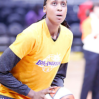 17 June 2014: Los Angeles Sparks forward/center Sandrine Gruda (7) warms up prior to the Minnesota Lynx  94-77 victory over the Los Angeles Sparks, at the Staples Center, Los Angeles, California, USA.
