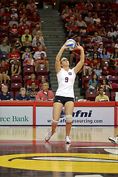 25 AUG 2007: Katie Seyller has her hands high to attempt a block of the ball hit by Ali Shulz.  Illinois State defeated Valparaiso in 3 straight games to take the match with a shut out. The Valparaiso Crusaders visited the Illinois State Redbirds on Doug Collins Court in Redbird Arena on the campus of Illinois State University in Normal Illinois.