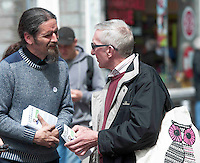 19/05/2014 Des Harte from Sligo  with MEP hopeful Luke Ming Flannagan on the streets in Galway . Photo:Andrew Downes