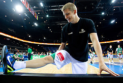 Luka Rupnik of Slovenia at warming up prior to the basketball game between National basketball teams of Slovenia and Lithuania at of FIBA Europe Eurobasket Lithuania 2011, on September 15, 2011, in Arena Zalgirio, Kaunas, Lithuania.  (Photo by Vid Ponikvar / Sportida)