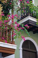 Colorful Spanish colonial balconies of Old San Juan